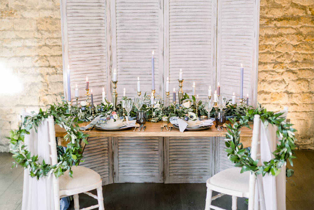 Tablescape Table Decor Shutters Doors Backdrop Candles Greenery Winter Blue Barn Wedding Ideas Joanna Briggs Photography