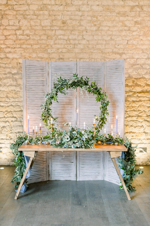 Hoop Wreaths Greenery Folliage Backdrop Table Tablescape Winter Blue Barn Wedding Ideas Joanna Briggs Photography