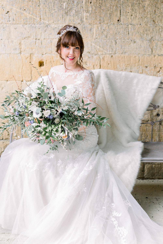 Dress Gown Bride Bridal Lace Sleeves Winter Blue Barn Wedding Ideas Joanna Briggs Photography