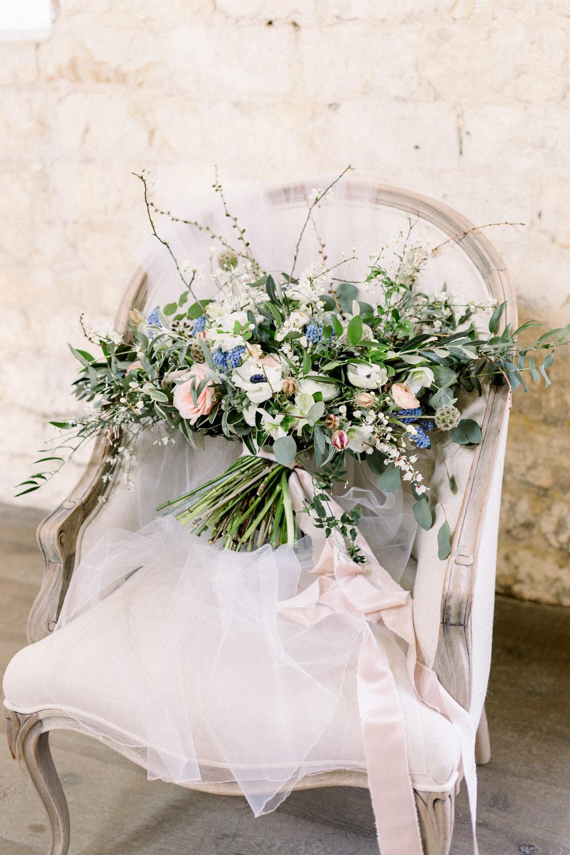 Bouquet Flowers Bride Bridal Grape Hyacinth Anemone Greenery Folliage Nigella Seeds Scabious Blossom Winter Blue Barn Wedding Ideas Joanna Briggs Photography