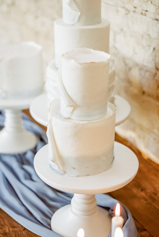 Cake Ruffle Tier Winter Blue Barn Wedding Ideas Joanna Briggs Photography