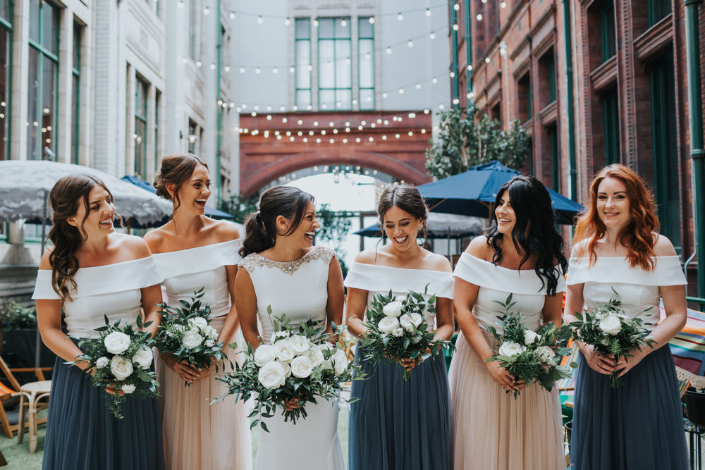 Pronovias Dress Gown Fit and Flare Embellished Sparkle Long Train Tulle Skirt Mismatched Bridesmaids Bardot Top Albert Hall Manchester Wedding Katie Dervin Photography
