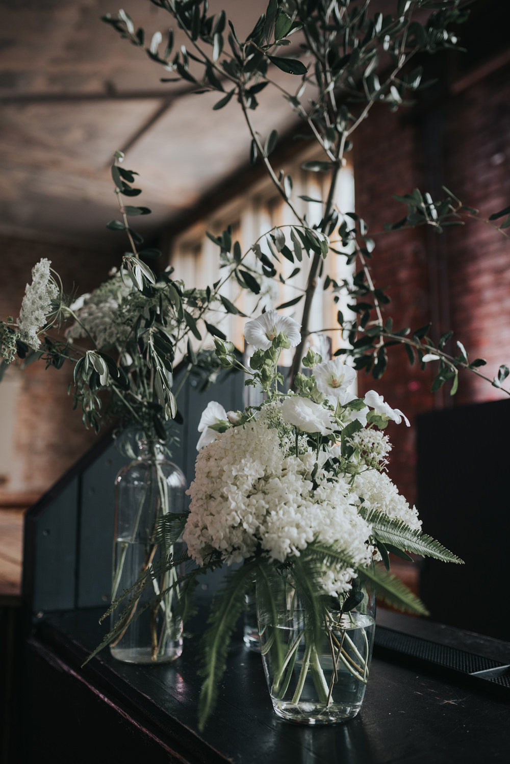 White Flowers Floral Greenery Foliage Olive Albert Hall Manchester Wedding Katie Dervin Photography