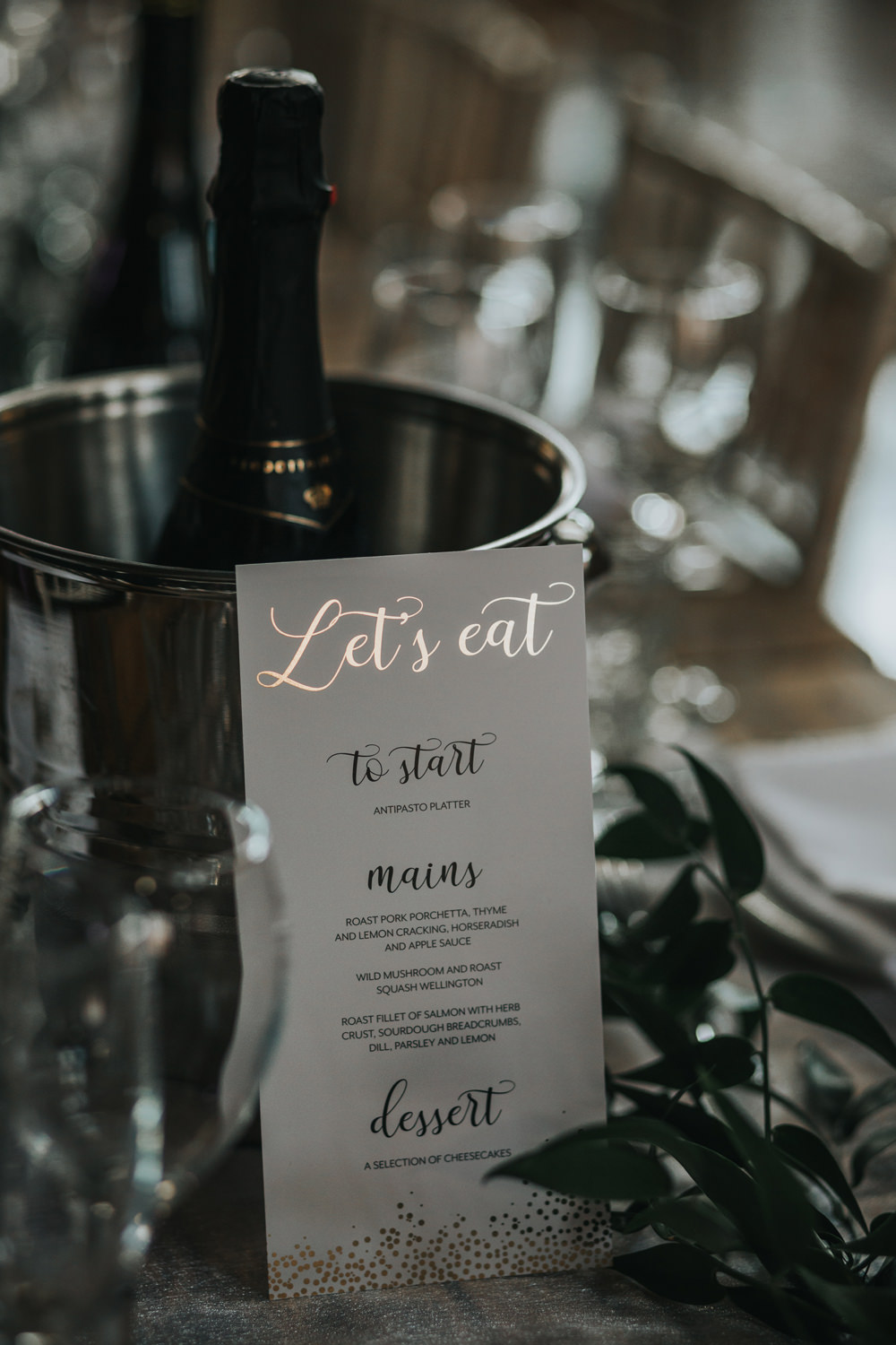 Menu Stationery Gold Greenery Foliage Runner Albert Hall Manchester Wedding Katie Dervin Photography