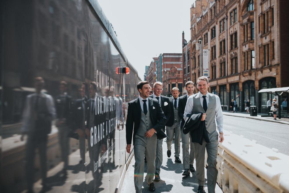 Three Piece Suit Waistcoat Groom Grey Navy Albert Hall Manchester Wedding Katie Dervin Photography