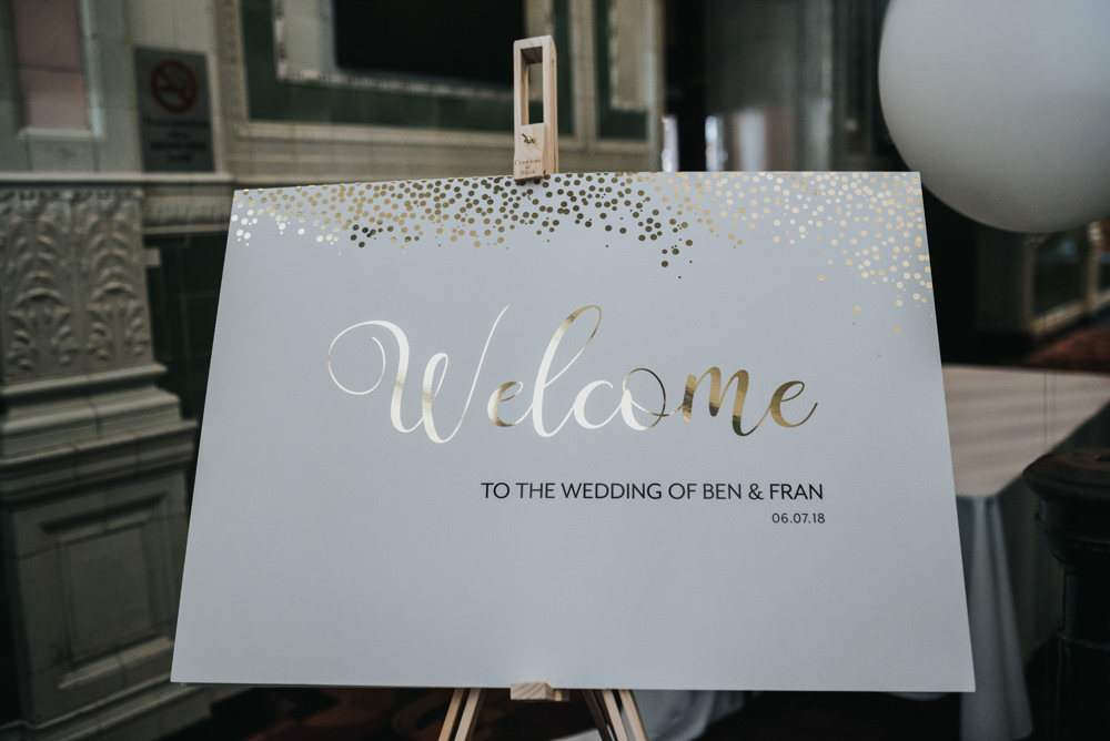 Welcome Sign Calligraphy Gold Albert Hall Manchester Wedding Katie Dervin Photography