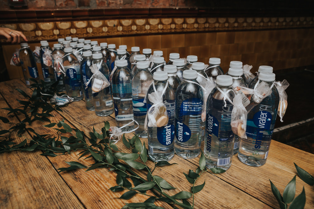 Favours Water Bottle Paracetamol Greenery Gift Albert Hall Manchester Wedding Katie Dervin Photography