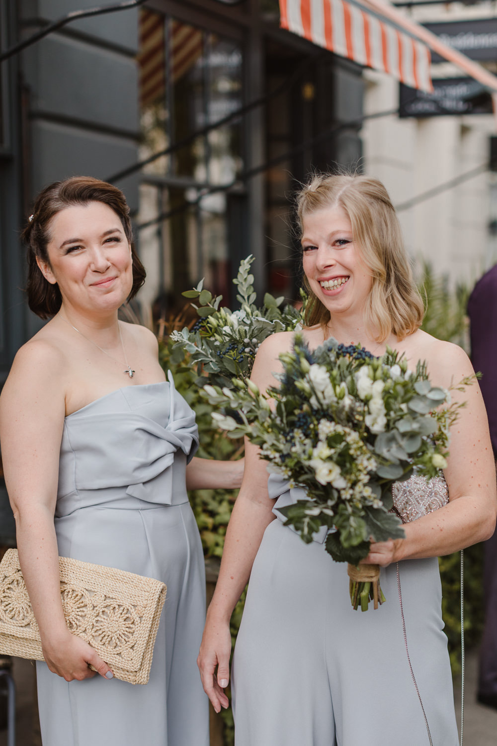 Bridesmaid Bridesmaids Jump Suits Blue Asylum London Wedding Emma Gates Photography
