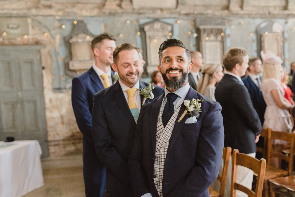 Groom Suit Style Waistcoat Navy Check Tie Asylum London Wedding Emma Gates Photography