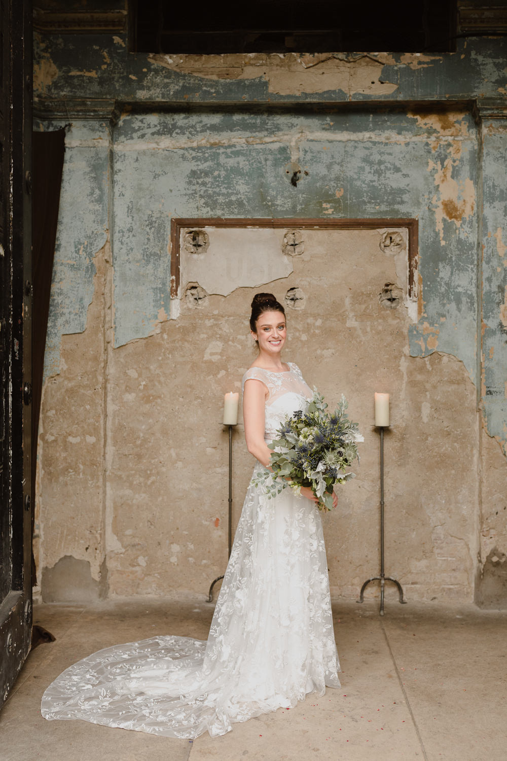 Bride Bridal Dress Gown Rime Arodaky Floral Lace Train Asylum London Wedding Emma Gates Photography