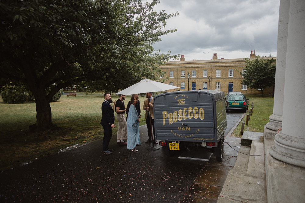 Prosecco Van Truck Drinks Bar Asylum London Wedding Emma Gates Photography