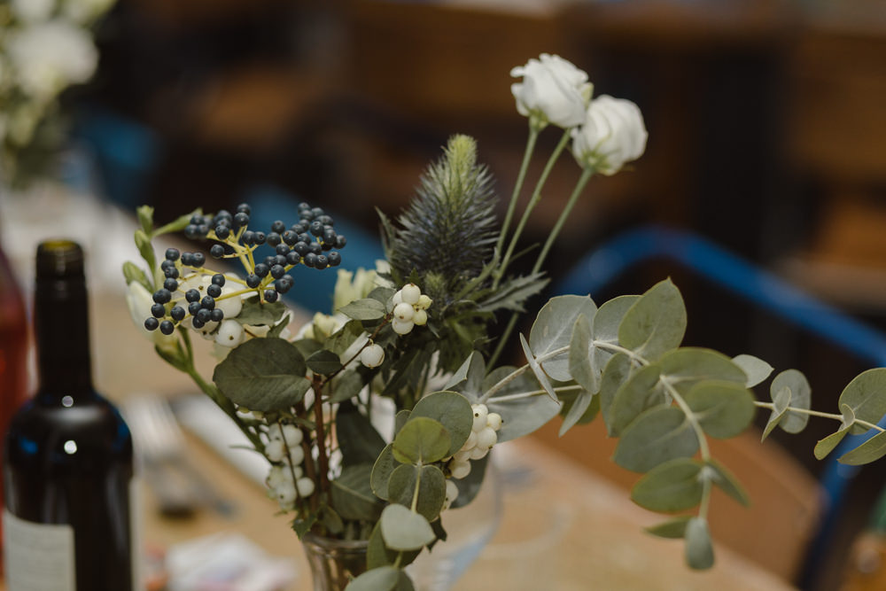 Table Flowers Centrepiece Decor Asylum London Wedding Emma Gates Photography