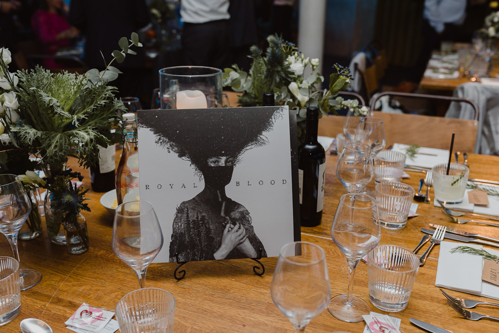Record Music Table Name Asylum London Wedding Emma Gates Photography