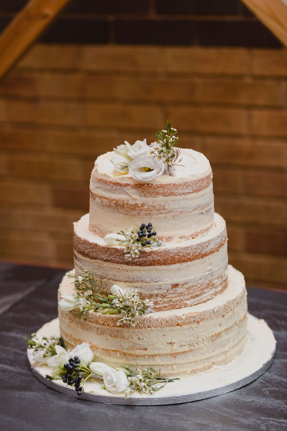 Semi Naked Cake Flowers Asylum London Wedding Emma Gates Photography