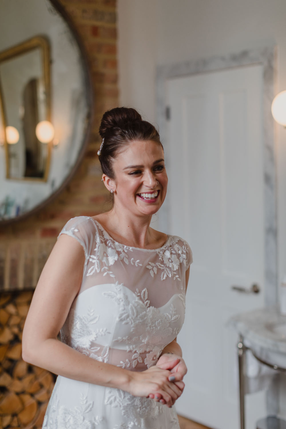 Bride Bridal Hair Up Do Bun Asylum London Wedding Emma Gates Photography