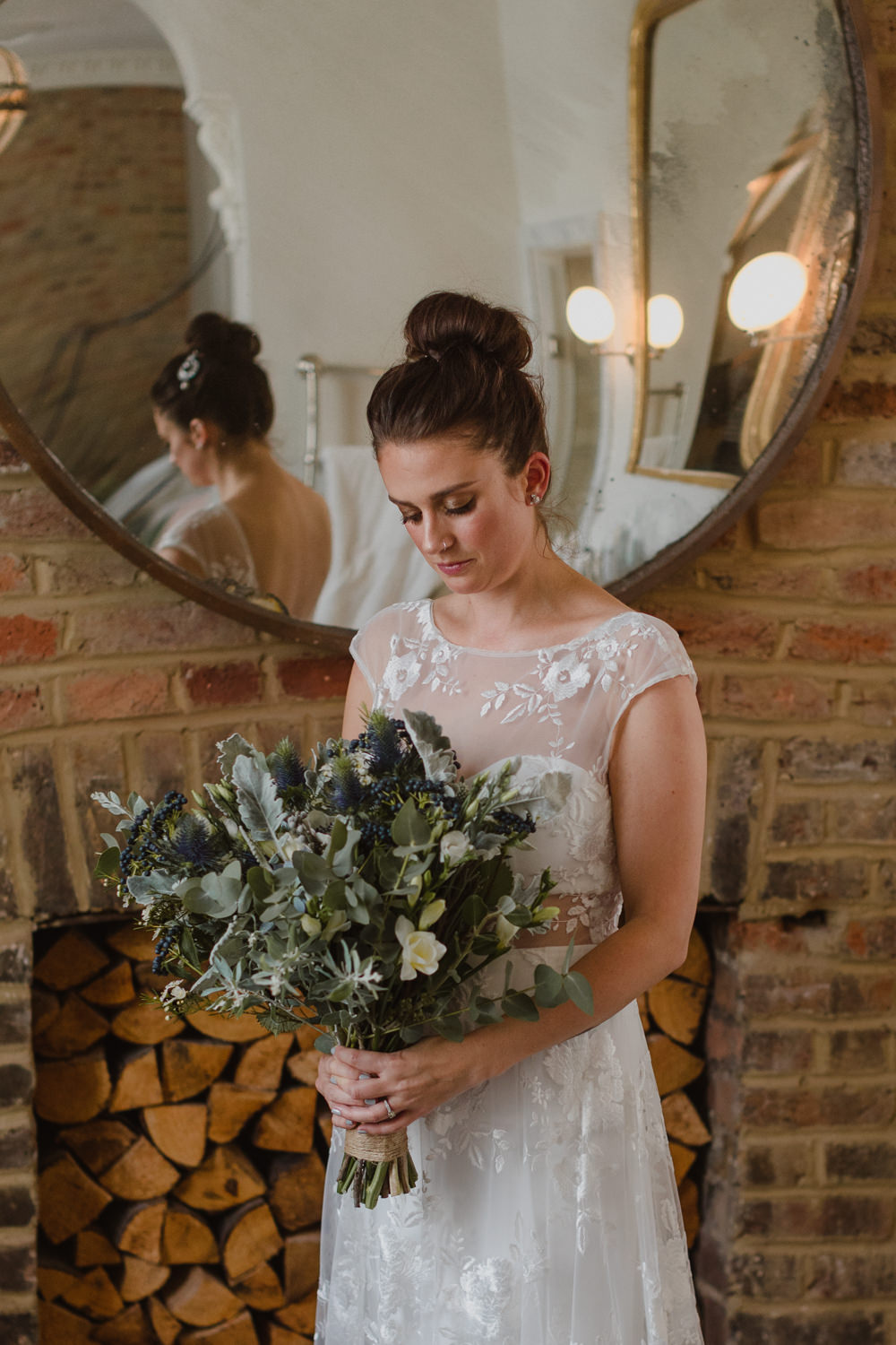 Bride Bridal Bouquet Flowers Greenery Foliage Thistles Berries Asylum London Wedding Emma Gates Photography
