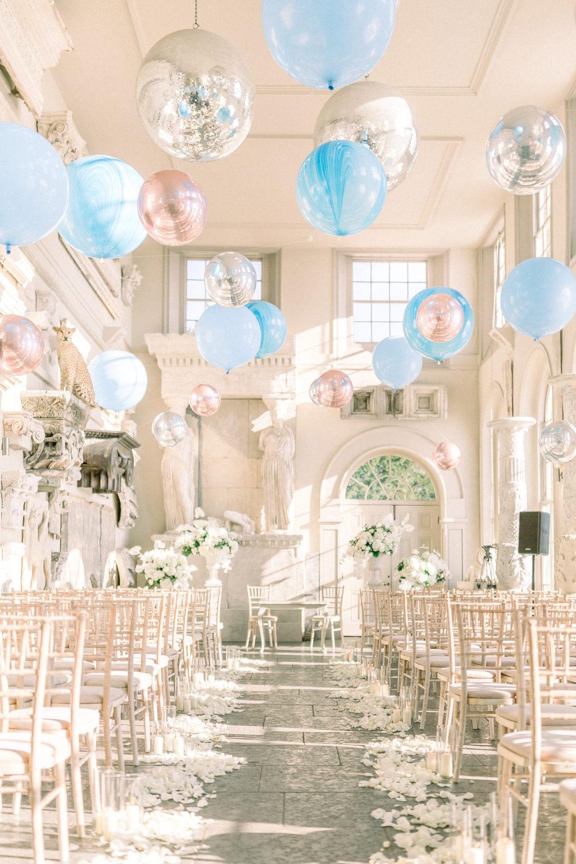 Fine Art Balloon Installation Blue Orbz Aynhoe Park Wedding Sanshine Photography