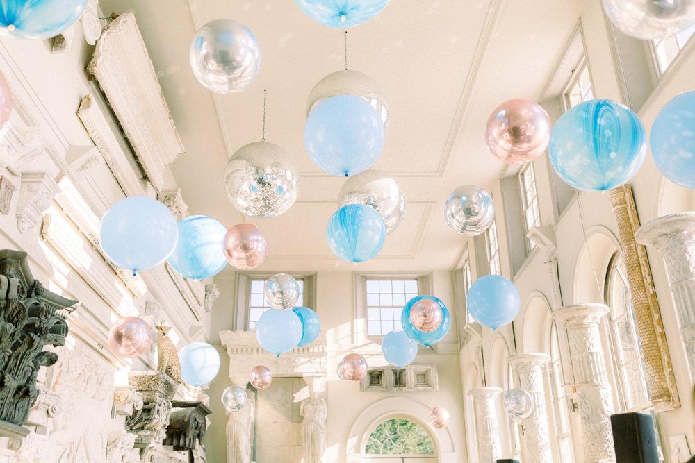Balloon Installation Blue Silver Orbz Aynhoe Park Wedding Sanshine Photography