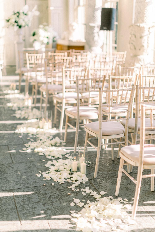 Aisle Candles Petals Aynhoe Park Wedding Sanshine Photography