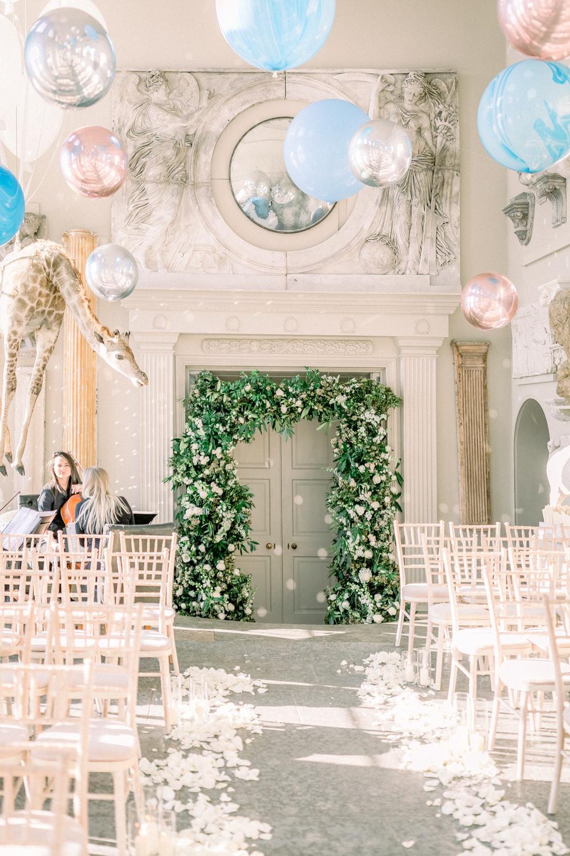 Balloon Installation Floral Arch Aynhoe Park Wedding Sanshine Photography