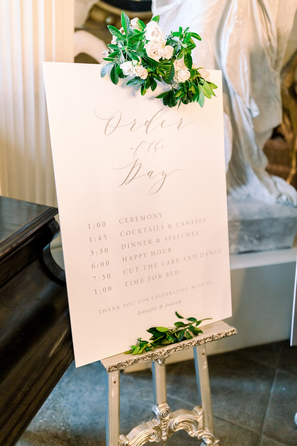 Order of the Day Stationery Signage Floral Modern Calligraphy Easel Aynhoe Park Wedding Sanshine Photography