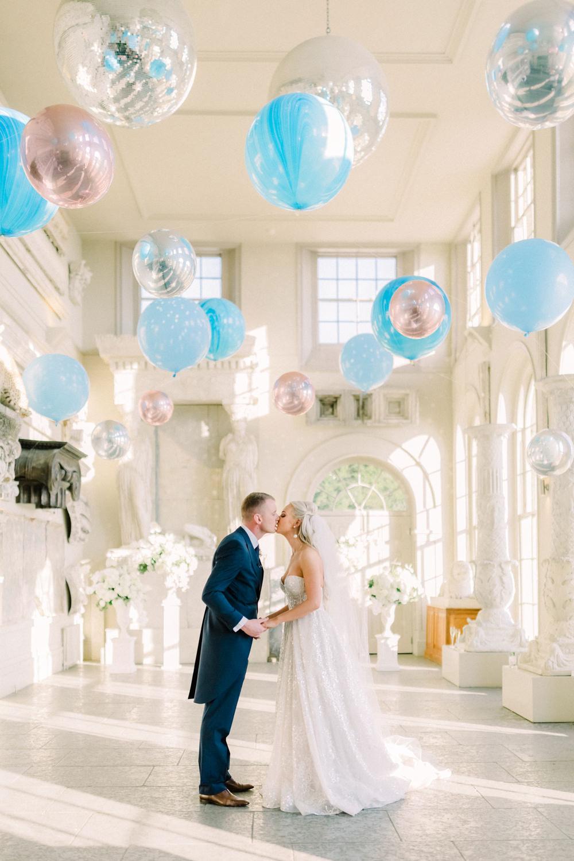 Bride Bridal Berta Princess Sparkly Dress Gown Veil Navy Tailcoat Groom Balloon Installation Aynhoe Park Wedding Sanshine Photography