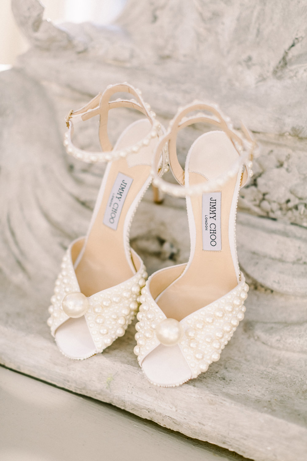 Bride Bridal Pearl Shoes Jimmy Choo Aynhoe Park Wedding Sanshine Photography