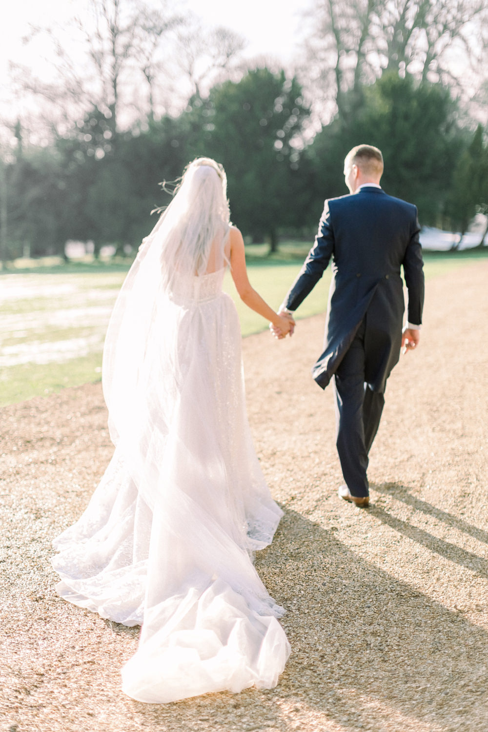 Bride Bridal Berta Princess Sparkly Dress Gown Veil Navy Tailcoat Groom Train Aynhoe Park Wedding Sanshine Photography