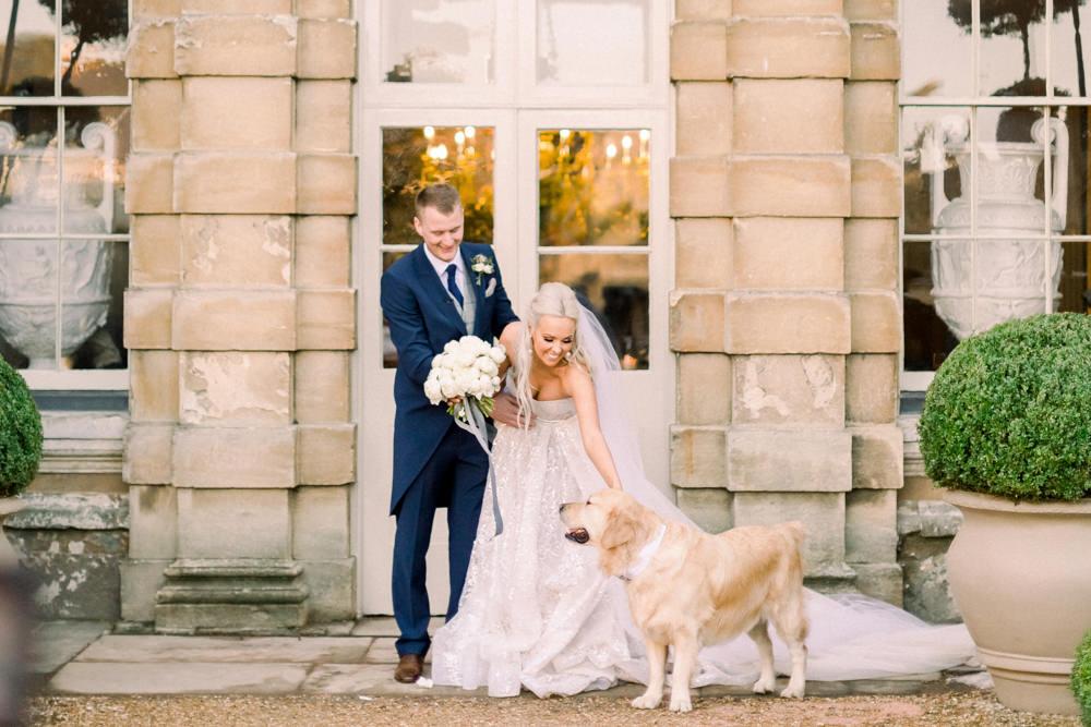 Bride Bridal Berta Princess Sparkly Dress Gown Veil Navy Tailcoat Groom Dog Aynhoe Park Wedding Sanshine Photography