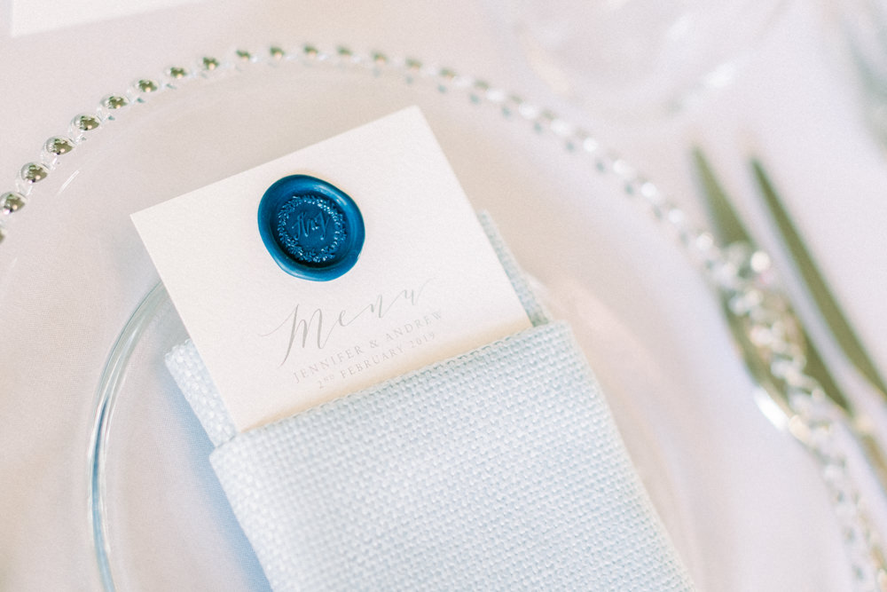 Wax Seal Menu Stationery Glass Beaded Charger Plate Place Setting Aynhoe Park Wedding Sanshine Photography