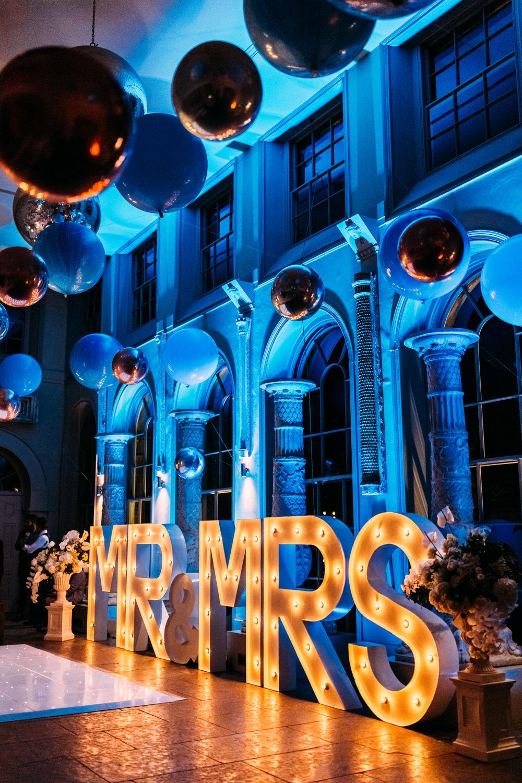 Mr & Mrs Light Up Letters Aynhoe Park Wedding Sanshine Photography