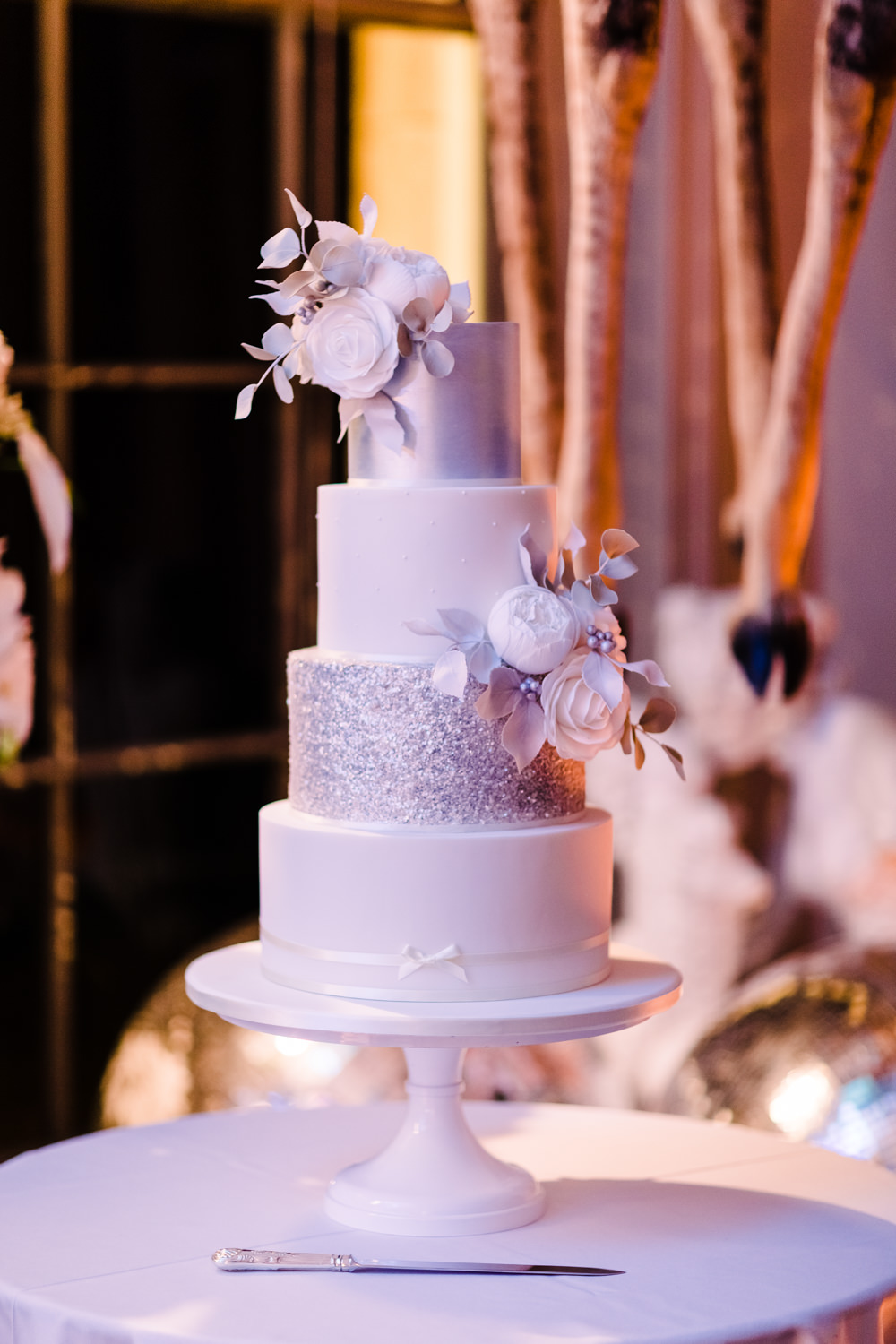 Silver White Sparkly Cake Flowers Tiered Stand Aynhoe Park Wedding Sanshine Photography