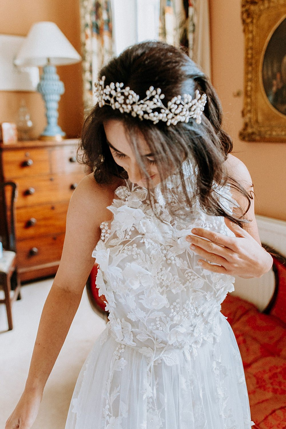 Headpiece Tiara Crown Accessory Bride Bridal Blue Gold Wedding Ideas Ailsa Reeve Photography
