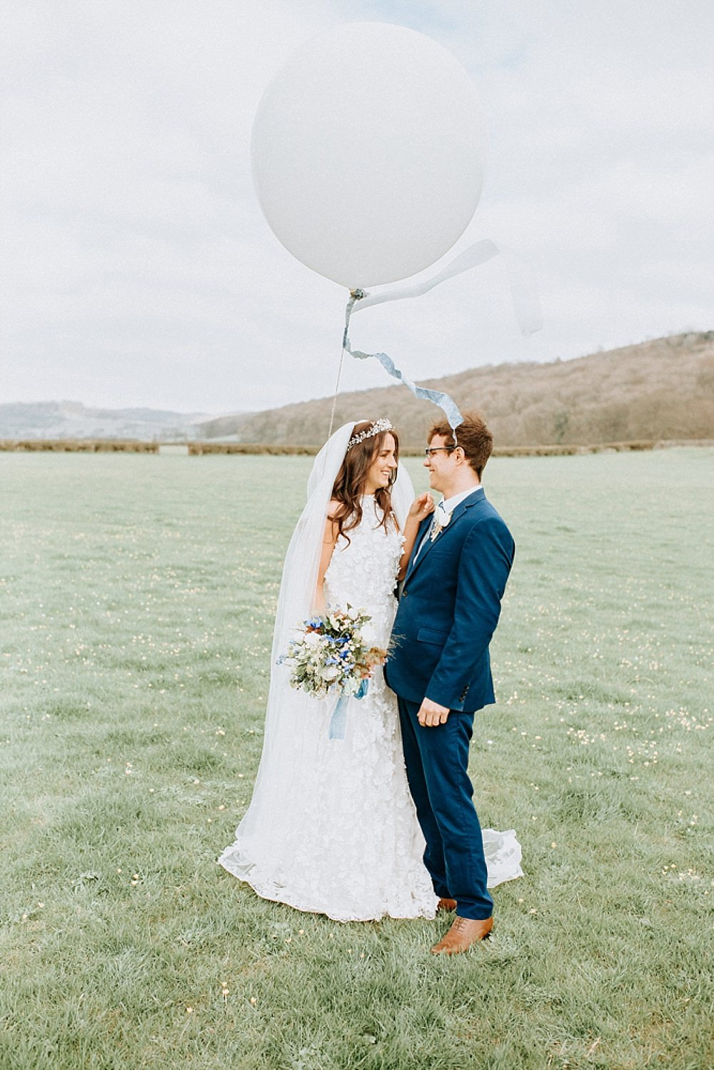 Giant Balloon Blue Gold Wedding Ideas Ailsa Reeve Photography