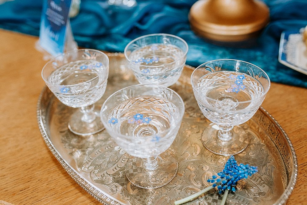 Cocktails Glasses Blue Gold Wedding Ideas Ailsa Reeve Photography