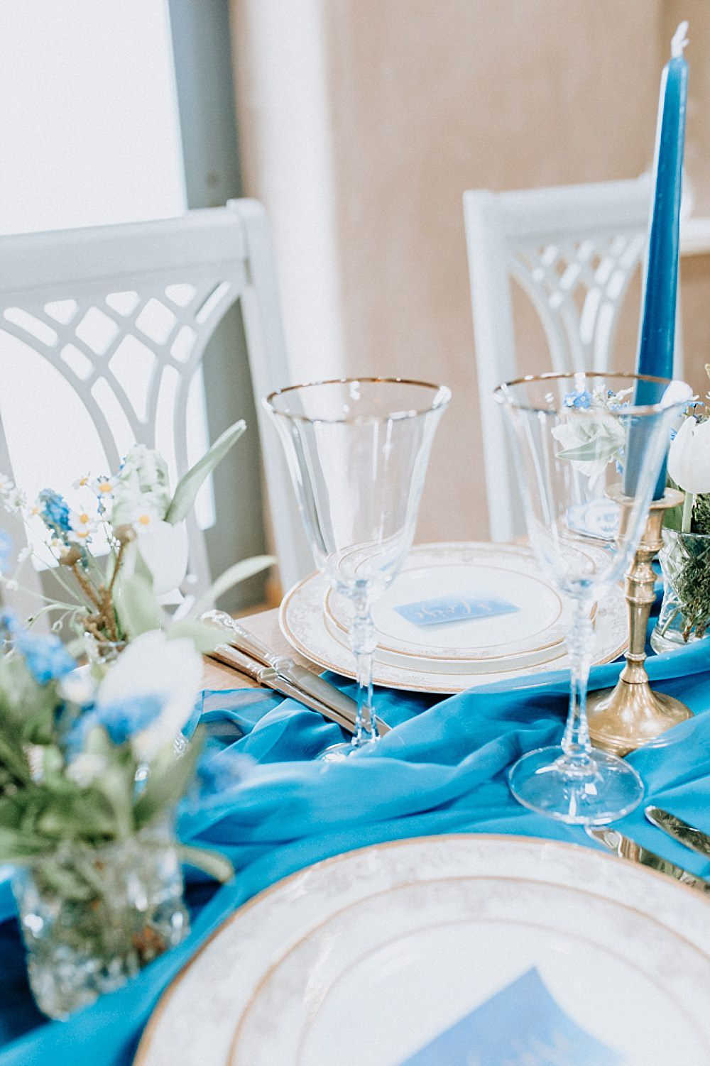 Table Tablescape Decor Decoration Runner Silk Candlesticks Flowers Blue Gold Wedding Ideas Ailsa Reeve Photography