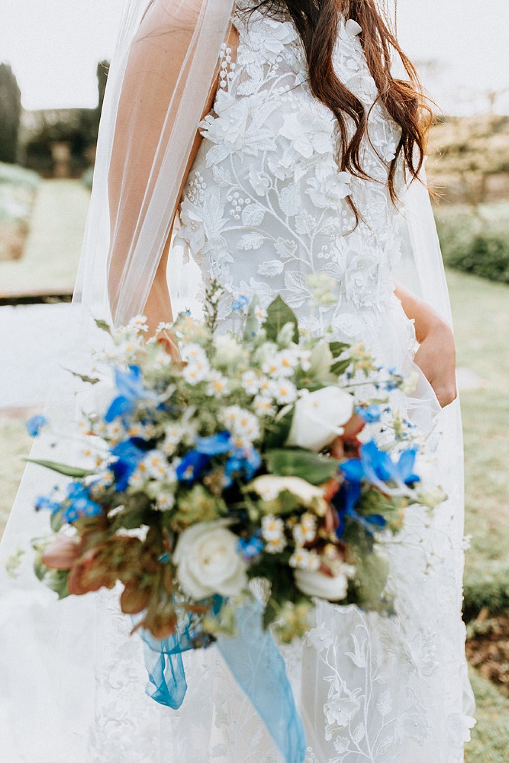 Dress Gown Bride Bridal Pronovias Flower Floral Applique Train Veil Blue Gold Wedding Ideas Ailsa Reeve Photography