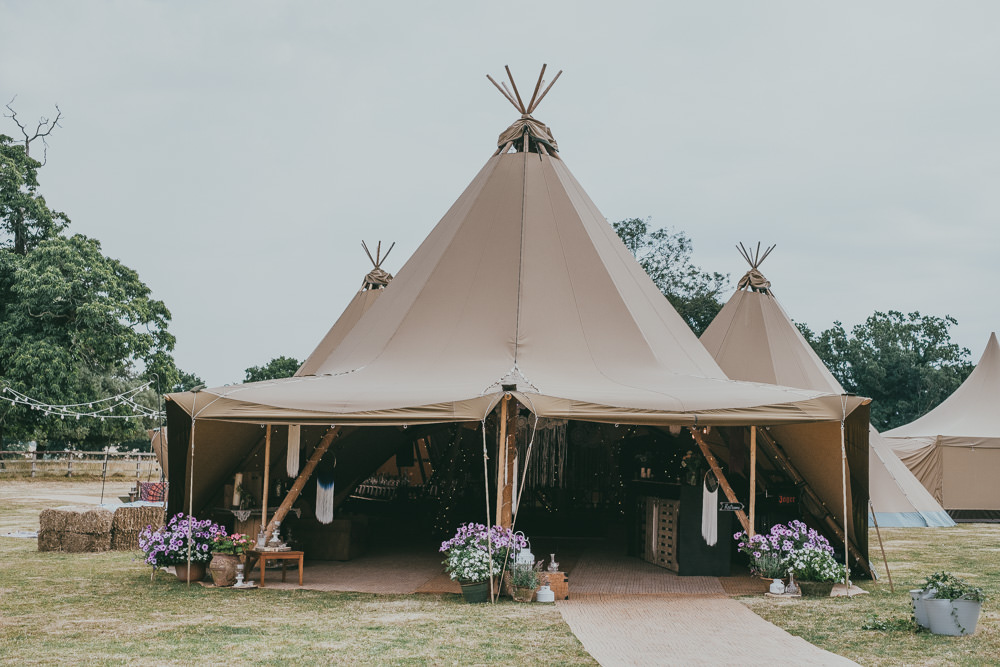 Tipi Hay Bales Potted Flowers Boho Tipi Wedding Ross Talling Photography