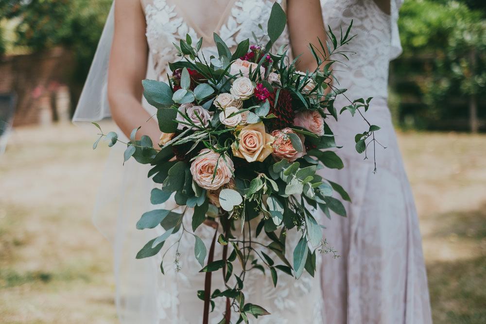 Bride Bridal Bouquet Greenery Rose Peach Burgundy Boho Tipi Wedding Ross Talling Photography
