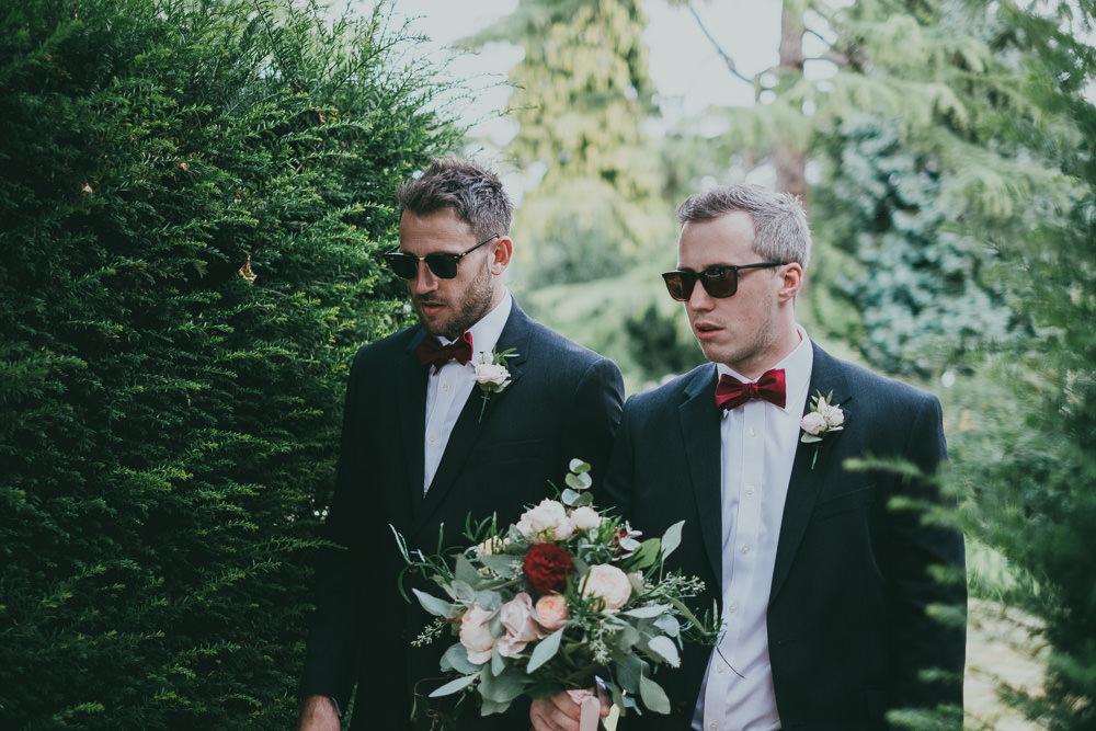 Burgundy Bow Tie Groomsmen Boho Tipi Wedding Ross Talling Photography