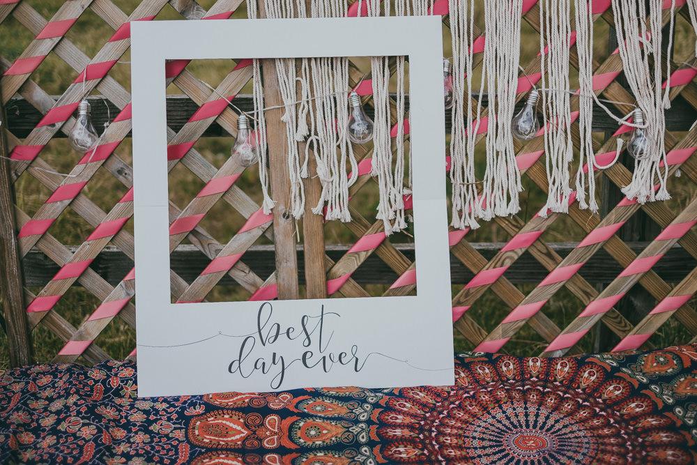 Best Day Ever Polaroid Macrame Boho Tipi Wedding Ross Talling Photography