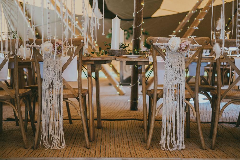 Macrame Chair Backs Fairy Lights Boho Tipi Wedding Ross Talling Photography