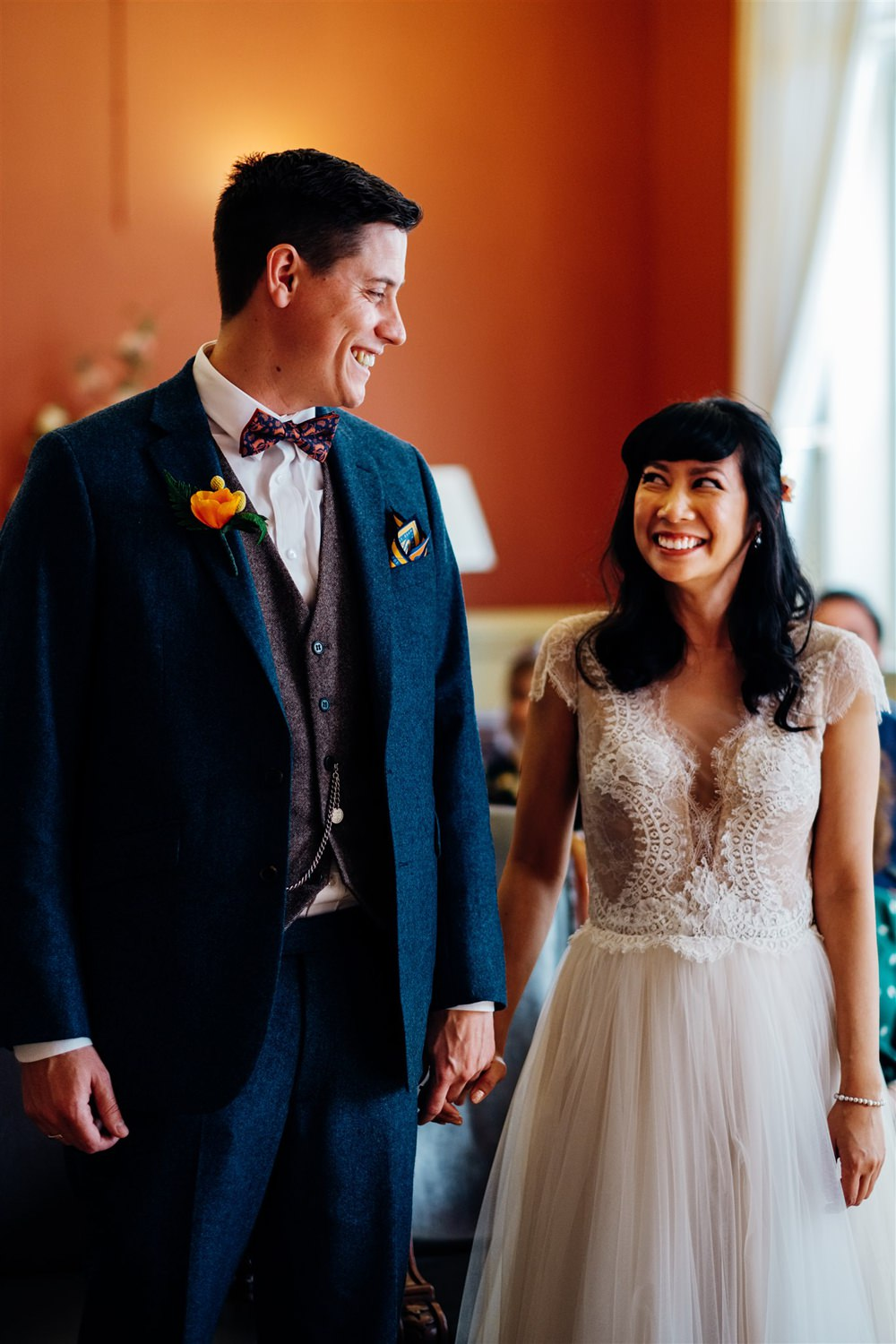 Bride Bridal Divine Atelier Dress Gown Tulle Skirt Lace Top Cap Sleeve Three Piece Suit Groom Multicoloured Paper Flower Bouquet Brighton Town Hall Wedding Marianne Chua Photography