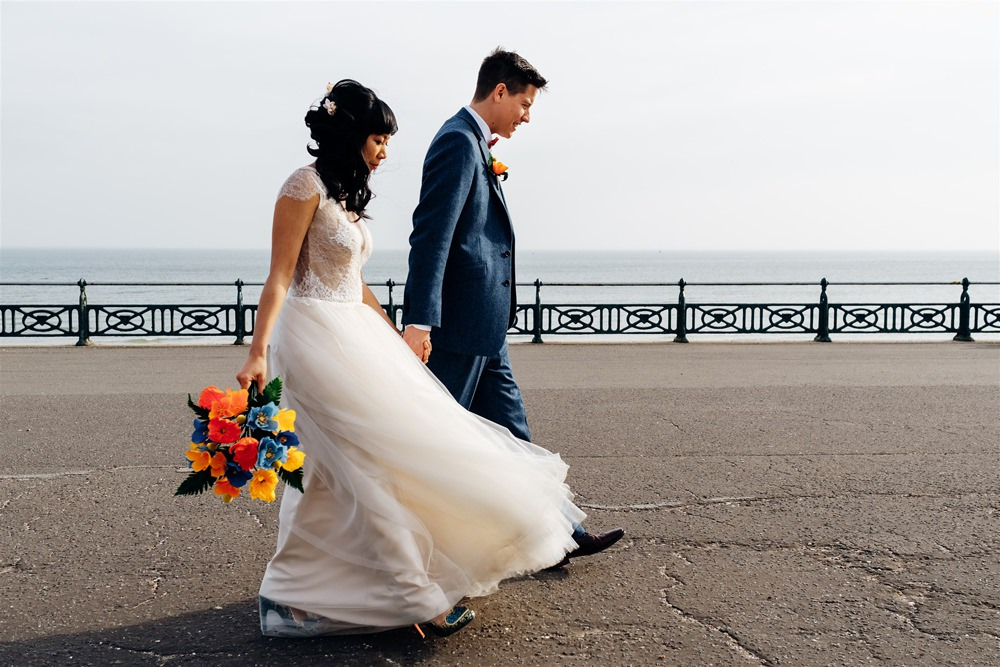 Bride Bridal Divine Atelier Dress Gown Tulle Skirt Lace Top Cap Sleeve Three Piece Suit Groom Multicoloured Paper Flower Bouquet Bow Tie Brighton Town Hall Wedding Marianne Chua Photography
