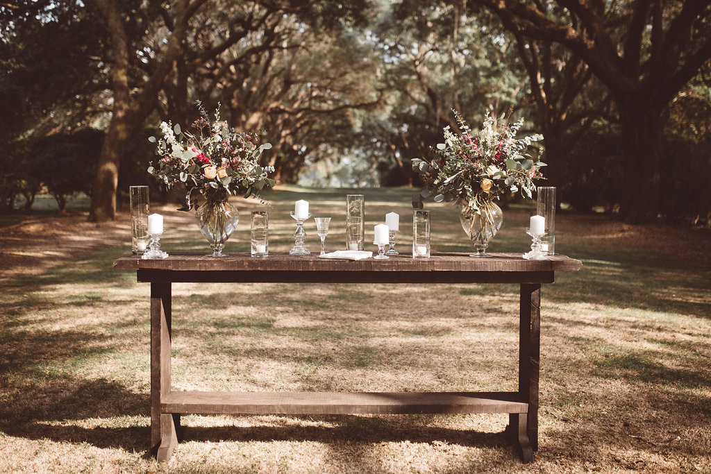 Ceremony Flowers Table Charleston Wedding Katherine Dalton Photography