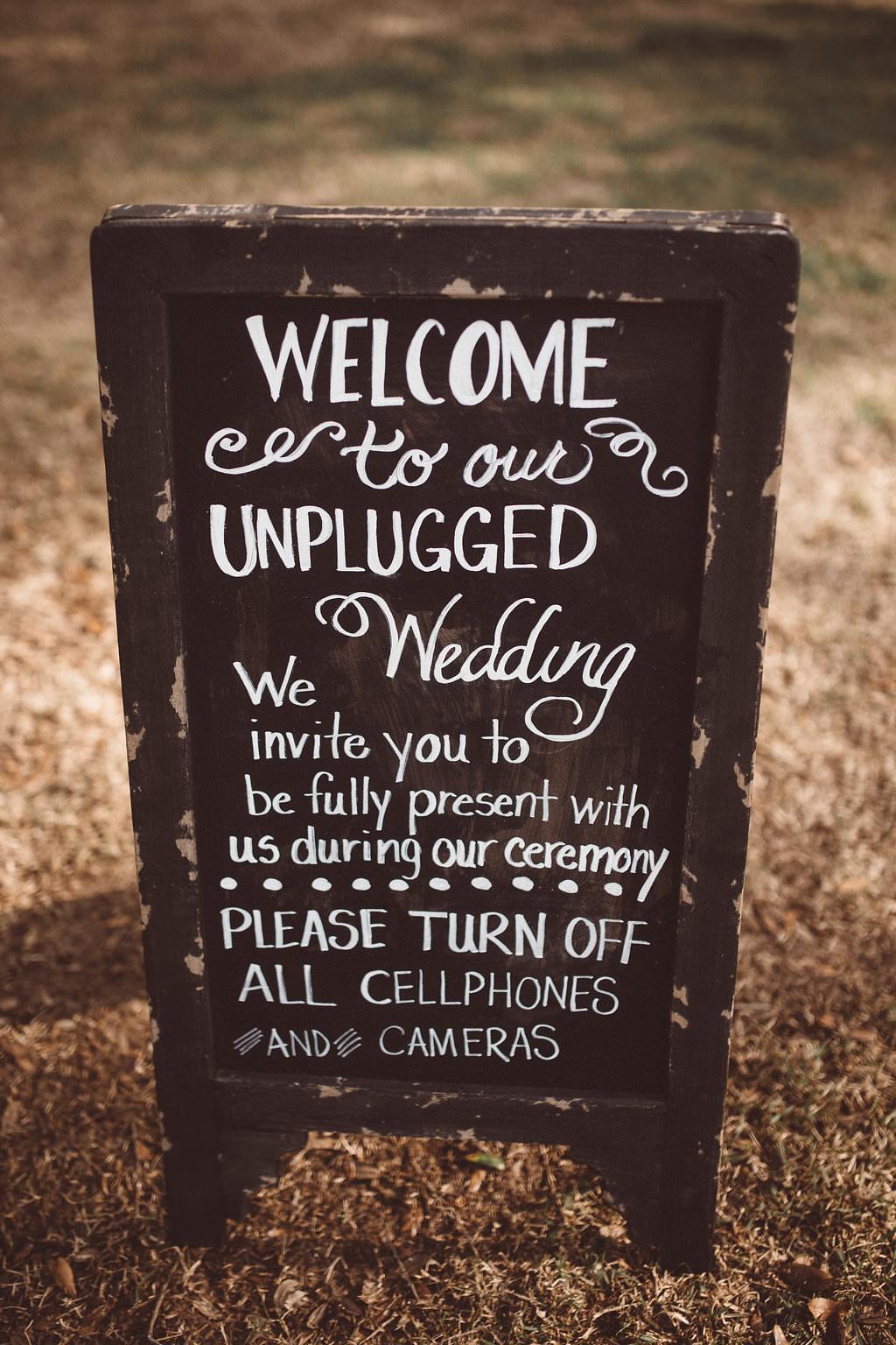 Unplugged Sign Signage Ceremony Charleston Wedding Katherine Dalton Photography