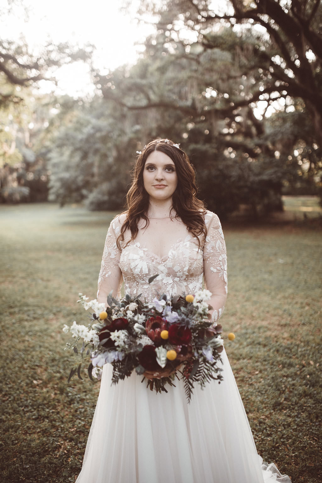 Bride Bridal Dress Gown Hayley Paige Long Sleeves Tulle Skirt Charleston Wedding Katherine Dalton Photography
