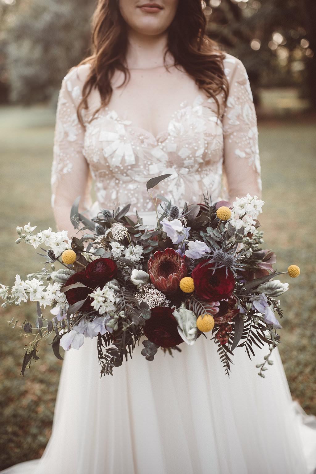Bouquet Flowers Bride Bridal Protea Thistle Rose Charleston Wedding Katherine Dalton Photography
