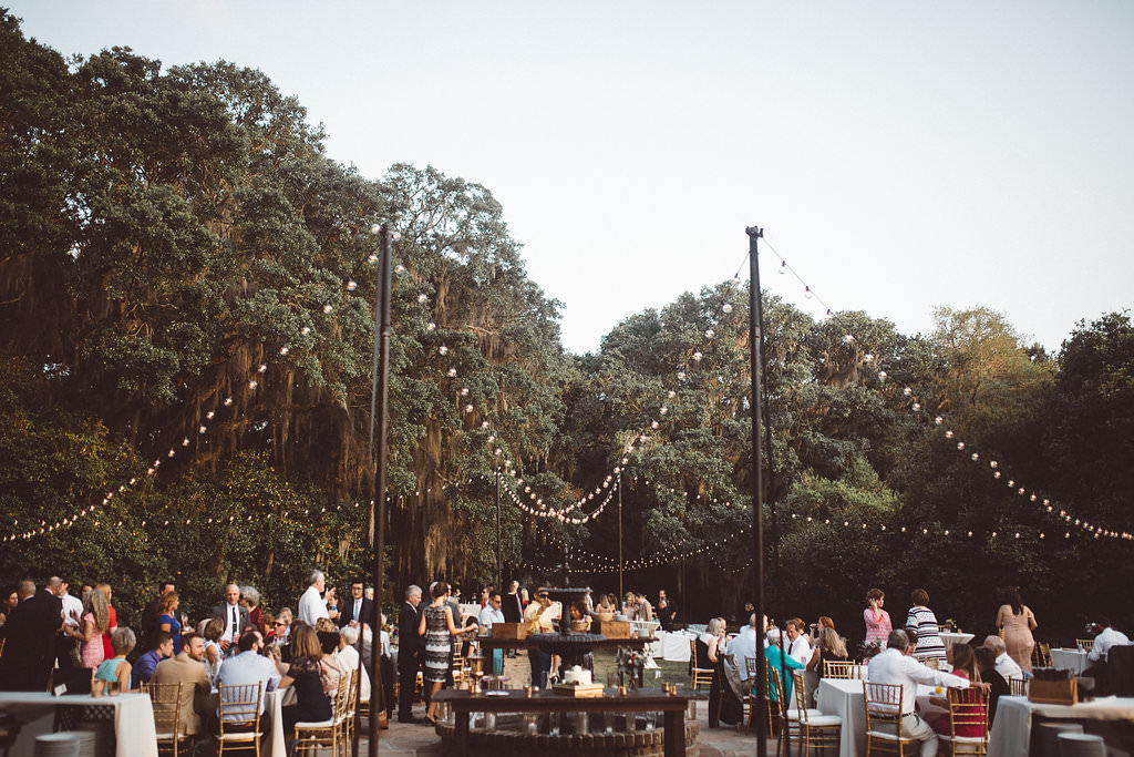 Outdoor Reception Festoon Lights Charleston Wedding Katherine Dalton Photography