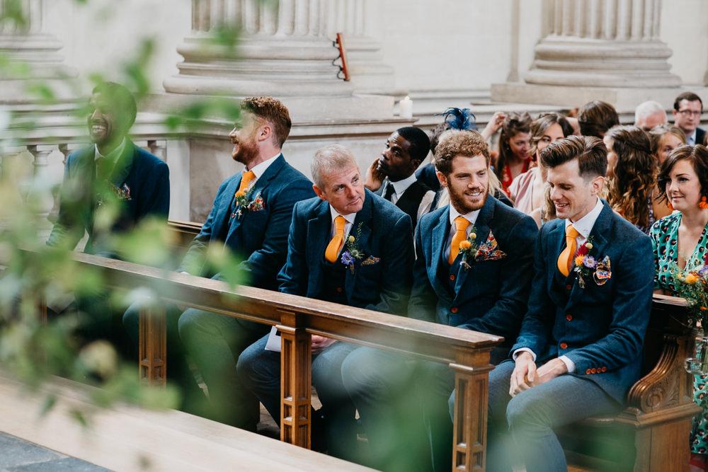 Grooom Suit Blue Tweed Orange Tie Groomsmen Church Farm Wedding Andrew Brannan Photography